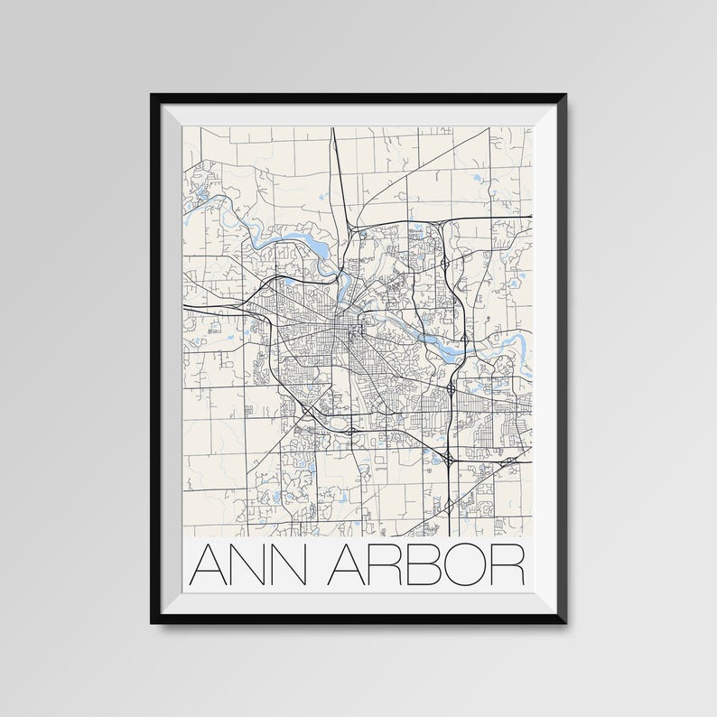 Ann Arbor Michigan Map Ann Arbor City Map Print Ann Arbor Etsy