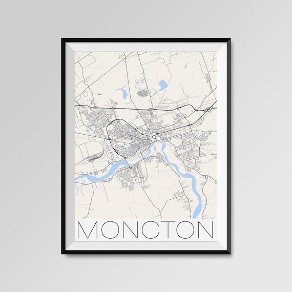 Moncton Canada City Maps Print Modern City Poster Minimalist Etsy