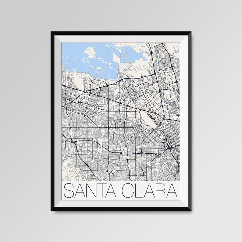 SANTA CLARA California Map Santa Clara City Map Print Santa | Etsy on