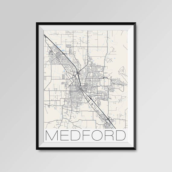 Medford Oregon Map Medford City Map Print Medford Map Etsy