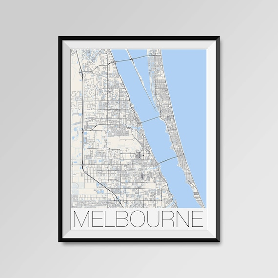 Melbourne Florida Map.Melbourne Florida Map Melbourne City Map Print Melbourne Map Etsy