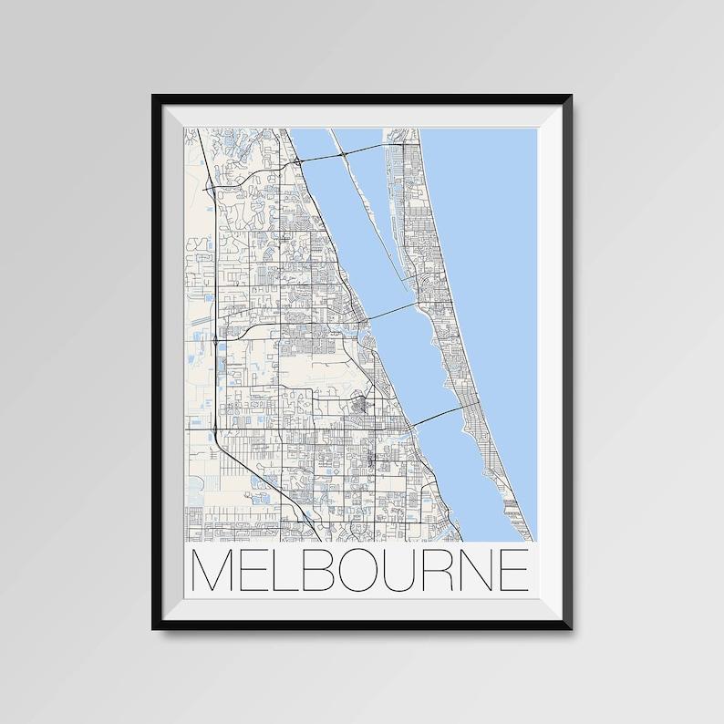 Melbourne Florida Map Melbourne City Map Print Melbourne Map Etsy