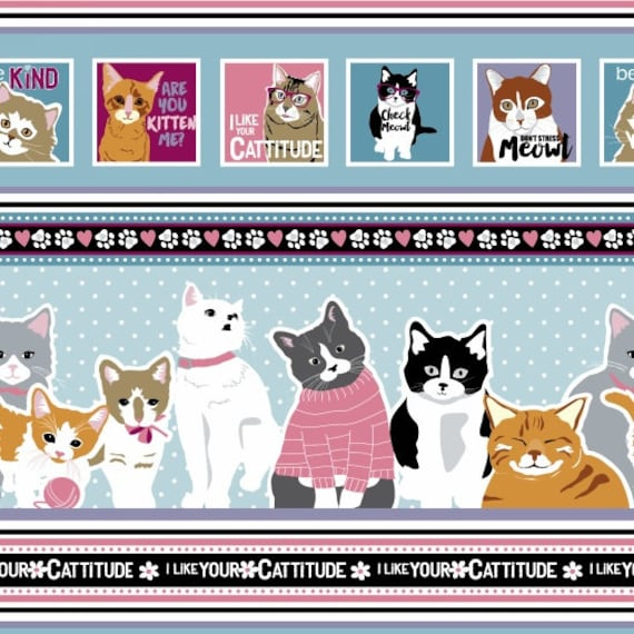 Real Cool Cartoon Cats Kittens Scattered On Black 100/% Cotton Patchwork Fabric
