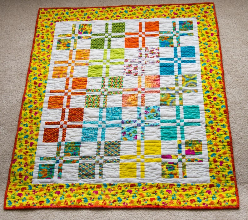 BRIGHT Baby Shower or Birthday Handmade Quilt  Great for image 0
