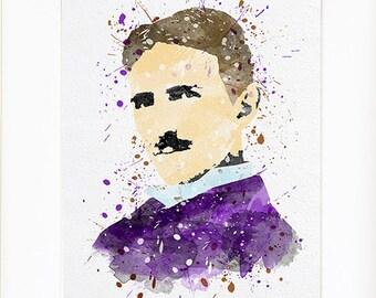 Nikola Tesla portrait Watercolor silhouette Fine Art Print, instant digital download high quality poster for wall  kids or nursery decor