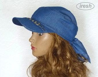 Denim Sun Visor, Blue sun visor, Visor Sunhat, Denim Headscarf, Blue Bandana