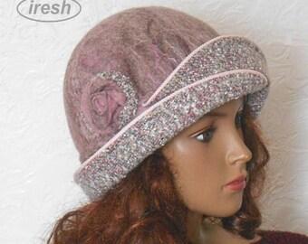 Felted hat, Felt hat, Pink, Pink hat, Woolen hat, Warm hat, Winter hat, Autumn hat