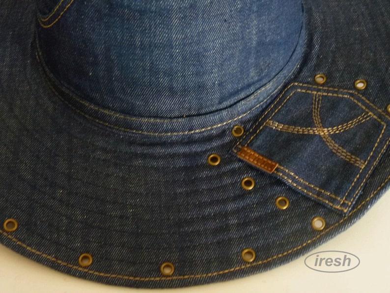 Denim Women/'s hat Jeanswear Jeans  style Denim clothing Summer Women/'s hat Wide-brim hat Dark blue denim Women/'s Hat Dark blue hat