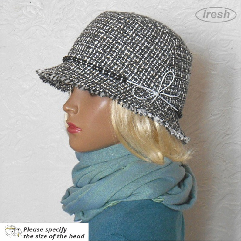 b6113050e Womens winter hats, Women's hat, Gray hat, Black hat, Warm hat, Warm  women's hat, Hat with small brim, Women's black hat, Winter womens hat.
