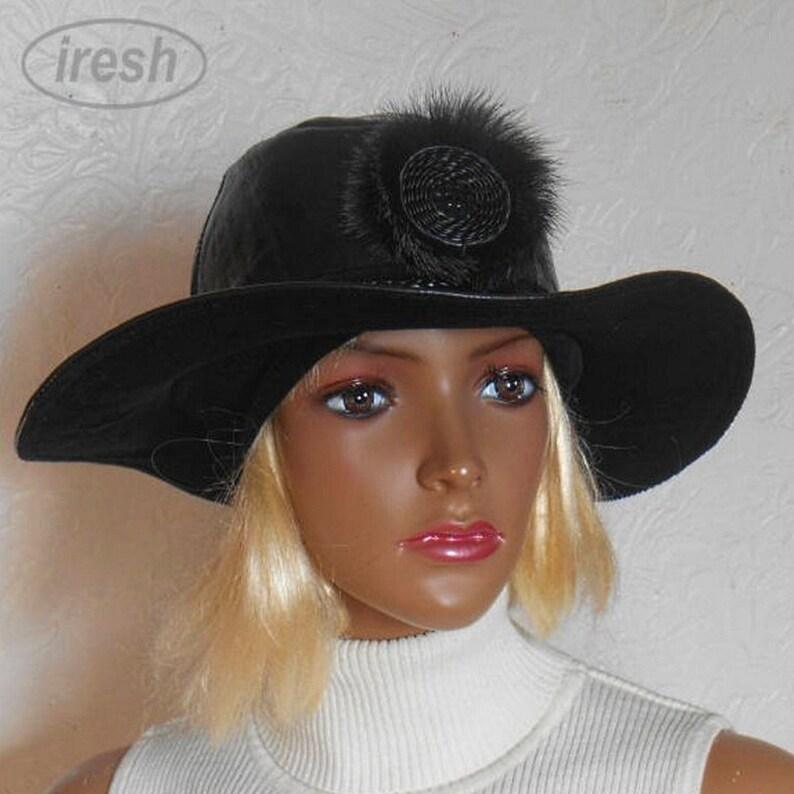 50cb915fde94bf Women's hat Black Leather hat Black women's hat | Etsy