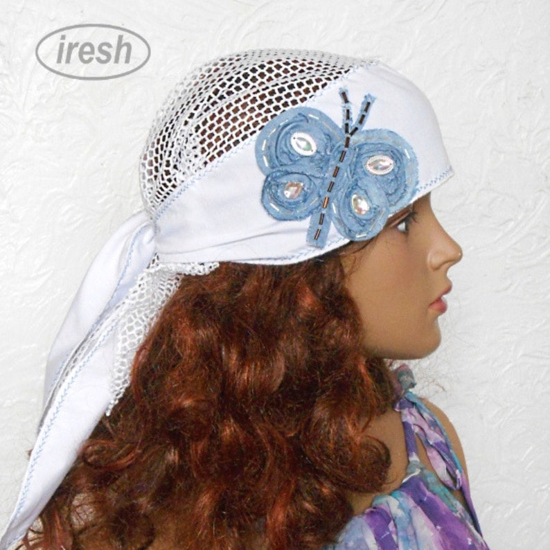 Women/'s Summer Bandana Summer Head Scarf White Women/'s Head Cover White Headband Butterfly Denim Bandana