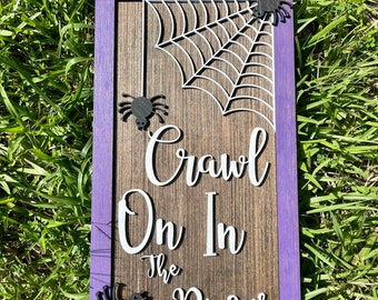Crawl on In Personalized Halloween Welcome Sign | Halloween Door Decor | Halloween Wall Decor
