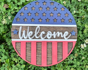 Patriotic Wall Hanging or Shelf Sitter Sign, 4th of July, Independence Day Decor
