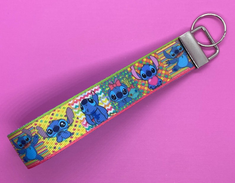 Disney Inspired Stitch Wristlet Keychain Lined in Blue with Silver Fob and Choice of Round or Mickey Key Ring