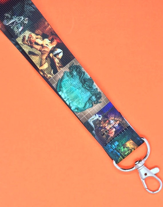 Disneyland Inspired Haunted Mansion Stretching Room Portraits Lined Lanyard with Silver Swivel Clasp