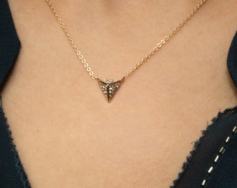Diamond Triangle Necklace, 14k Gold Filled Chain, Dainty 3D triangle Gold Necklace, minimal Delicate Necklace with CZ stones • NPD-120