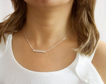 Personalized Skinny Bar Necklace, Sterling Silver, Gold filled, Rose Gold Filled • NBH30x41