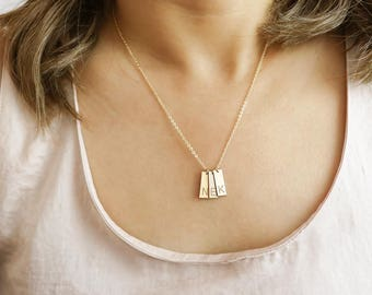 Multi tag necklace Sterling Silver, Gold Filled, Rose Gold • NBV16x6M0