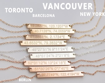 Coordinates Necklace, Coordinate Bar Necklace, Latitude Longitude, GPS Geograpic Location, Geo Jewelry,  Silver Gold Rose • NBH40x41