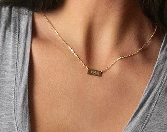 Custom Name Bar Personalized Bar Necklace \u2022 Custom Name Bar Necklace \u2022Dainty Minimal Initial Necklace \u2022Hand-Stamped Personalized Jewelry