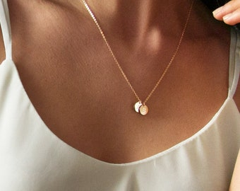 Initial Coin Necklace  Children Gifts  Initial Jewelry  Mothers Gift  Daughter Gift