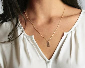 Tag Necklace 6x9mm \u2022 Tiny Initial Necklace \u2022 Engraved Initials Tag \u2022 Simple Necklace \u2022 Dainty Jewelry \u2022 Bridesmaid Gift \u2022 Multi Tag Gifts