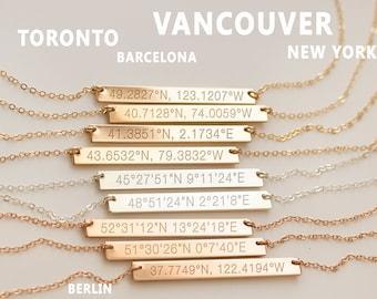 Coordinates Necklace, Geo Coordinate Bar, Latitude Longitude, GPS Geograpic Location, Silver Gold Rose, Wanderlust Jewelry • NBh40x4