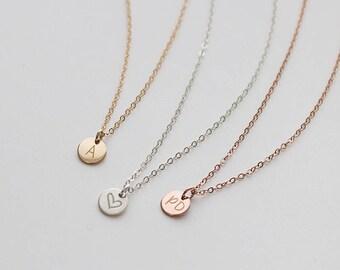 Tiny Silver Disc Necklace, Dainty Silver Necklace, Initial Silver Necklace, Delicate Silver Necklace, Everyday Jewelry, Dainty, Gold • NDV60