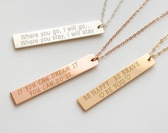 Quote jewelry etsy quote necklace custom quote quote jewelry inspirational jewelry vertical bar necklace motivational jewelry inspiring nbv38x60 mozeypictures Choice Image