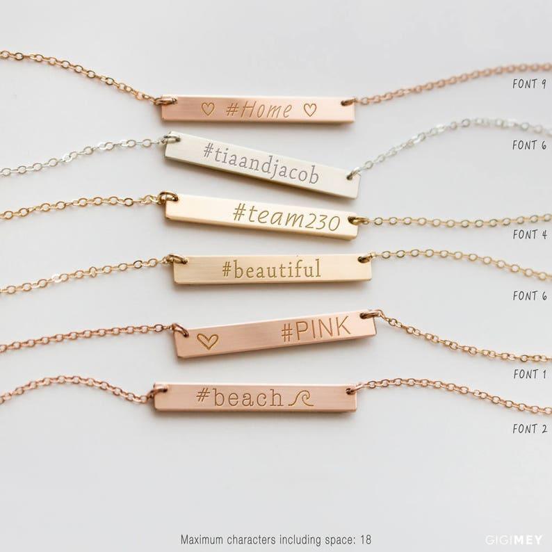 Hashtag Bar Necklace Custom Hashtag Necklace Necklace with image 0