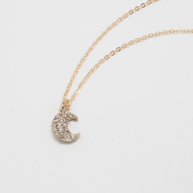 18k Gold Filled Crescent Moon on 14k Gold Filled Chain \u2022 Gold Moon Necklace \u2022 Simple Jewelry \u2022 Dainty \u2022