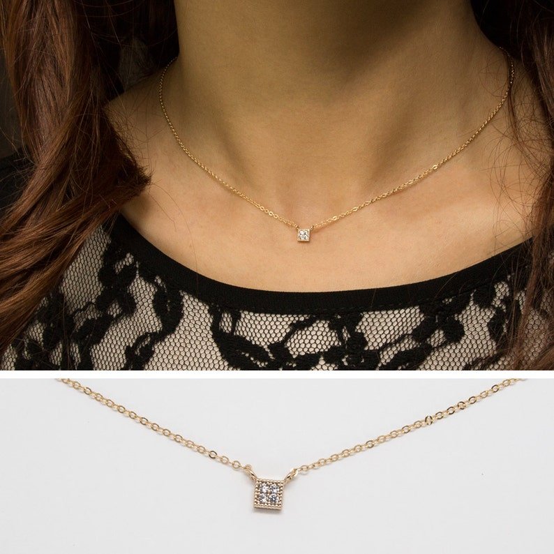 c22ce340c496c Pave Diamond Square Necklace, 14k Gold Filled Chain, Dainty Gold Square  Necklace, minimal Delicate Necklace with CZ stones • NPD-110