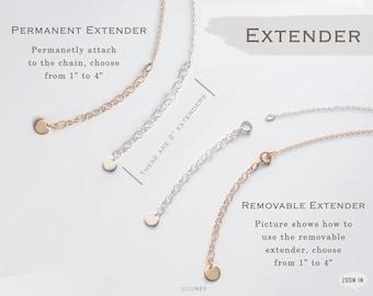 "Extender for your necklace or bracelet, added on adjustable length, Gold filled or Sterling silver, 1"" to 4"" • CEXT"