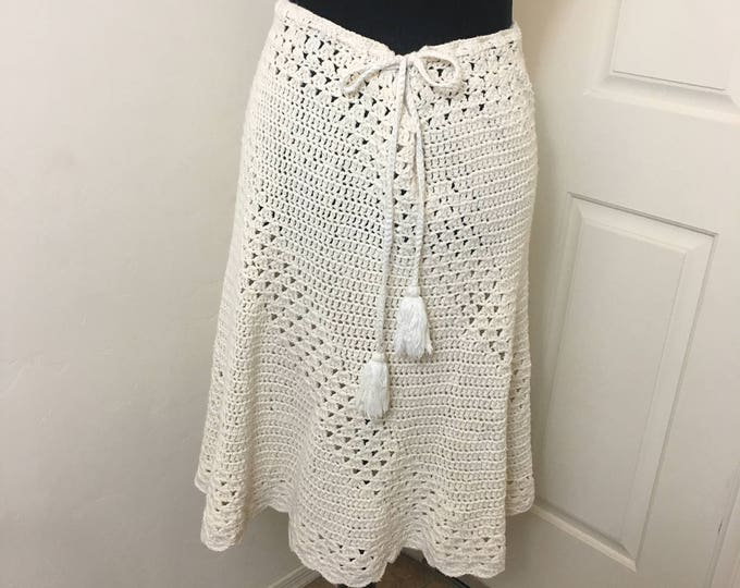 Featured listing image: Boho knit skirt vintage 1970's, handmade in haiti tagged Sheree Massaquoi Original, medium size, 100% cotton, island style, fringed tie