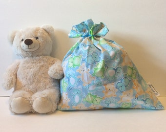Baby Shower Gift Bag, Baby Boy Gift, Fabric Gift Bag, Easter, Birthday Gift Bag, Blue Gift Bag, Teddy Bear Gift Bag, 20 x 17, Cloth Gift Bag