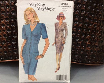 Vogue dress pattern vintage 1992 Very Easy Very Vogue 8324 size 12 to 16, makes tapered button up dress