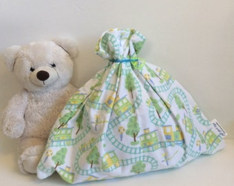 Baby Shower Gift Bag, Fabric Gift Bag, Train Print, Cloth Gift Bag, Reusable Gift Bag, Baby Gift Bag, Little Boy Birthday, Flannel, Upcycled