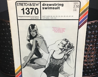 Ladies vintage swimsuit pattern, Stretch & Sew 1370 from 1981 makes a drawstring bathing suit sizes 28 - 44 bust
