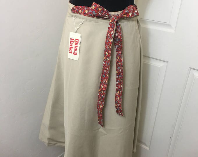 Featured listing image: Vintage 1970 reversible wrap skirt boho style, new with Quincy Market tags, Size 13/14, Solid Tan flips to Red Floral with wide belt tie