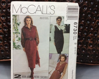 Women's jumper sewing pattern, vintage Woman's Day collection McCall's 6730 from 1993 size B 8,10,12, makes jumper in 3 lengths