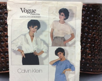 Vogue Pattern for a Women's Blouse, American Designer, Calvin Klein, 1980's Size 12