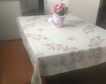 Farmhouse Style 1950's Vintage Floral Cross Stitched Handmade Linen Rectangle Tablecloth, 50x 65