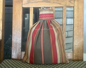 Recycled fabric gift bag in Southwest style stripes use for Christmas, birthday, Father's Day, retirement, 8.5 x 11.25, reusable cloth bag
