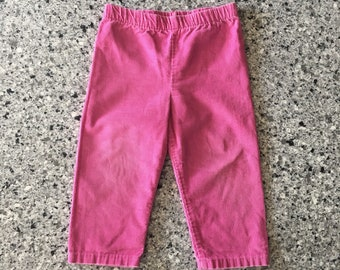 Bright pink long toddler pants vintage 1980's in medium weight thin whale corduroy, Size 2T