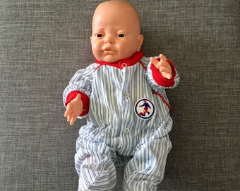 Striped vintage baby boy sleeper in blue white and red trim with soccer patch, Size 6 months, 1980's baby clothes
