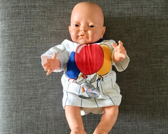Newborn vintage 1980's striped t-shirt with primary color puffy balloons bunny for new birthday, BabyFair brand, Shoulder snaps, Size 0-6 M