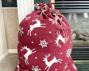 Extra large Jumbo Christmas fabric gift bag, Reindeer print flannel, Big Santa sack, rope cord drawstring, toy bag, 32 x 40