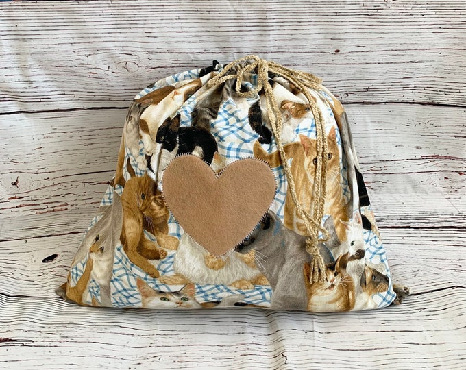 Featured listing image: Large drawstring fabric gift bag/ cat print with felt heart/ cat lover gift/ Valentine or Mother's Day/ birthday/ yarn travel bag/ 22.5 x 20