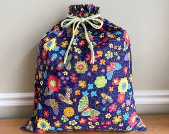 Baby shower large fabric gift bag, cotton with bright butterflies and flowers print, 1st birthday, reusable as toy bag, drawstring 20.5 x 24