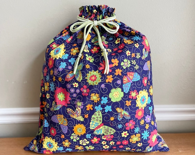 Featured listing image: Baby shower large fabric gift bag, cotton with bright butterflies and flowers print, 1st birthday, reusable as toy bag, drawstring 20.5 x 24